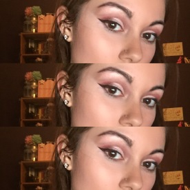 pink makeup look winged eyeliner